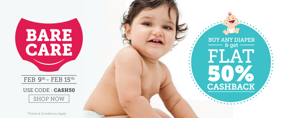 Upto 50% Off + Flat 50% Cashback on Diapers at Babyoye